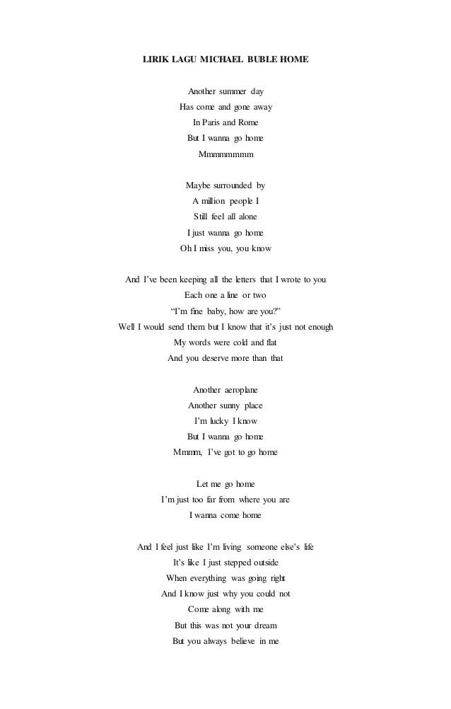 Lirik Home Michael Buble : lirik, michael, buble, Lirik, Michael, Buble