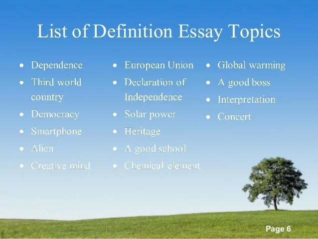 definition essay topic ideas