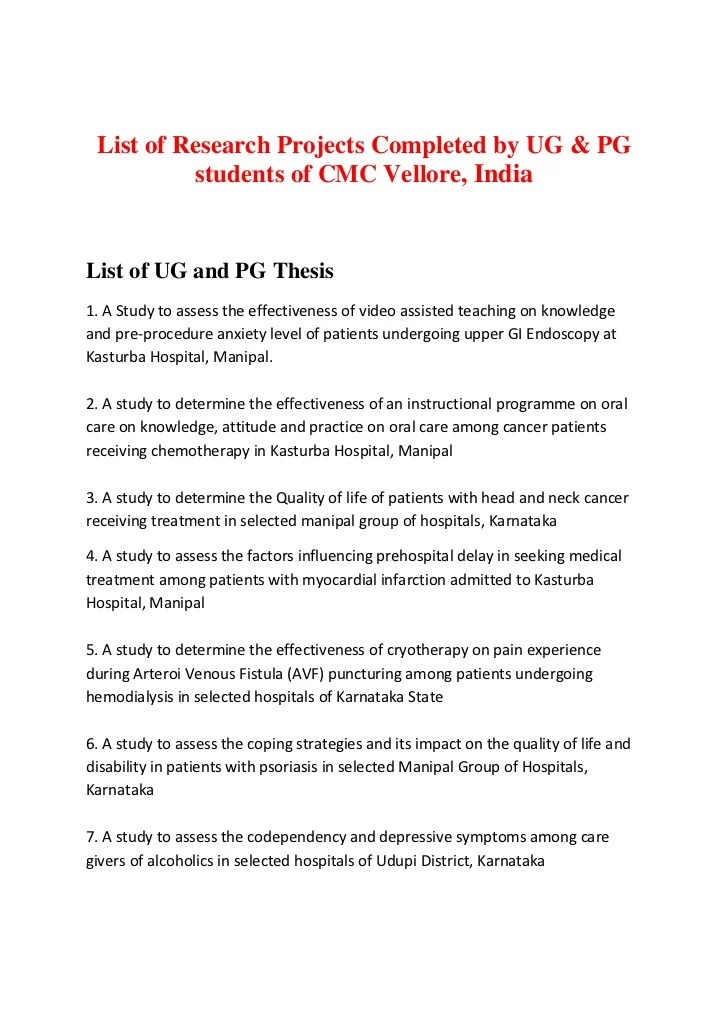 List Of Research Projects Cmc Vellore
