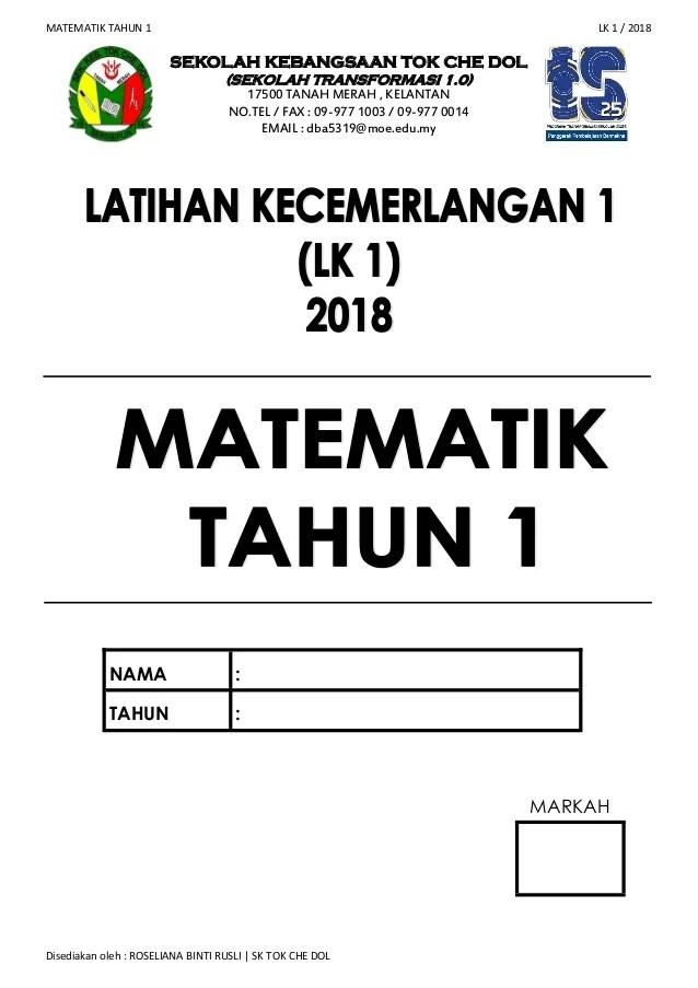 Contoh Soalan Matematik Sjkc Tahun 1 Selangor S Cute766