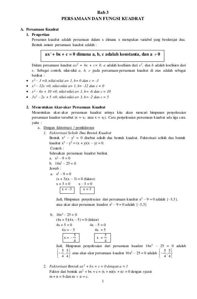 Jenis Dan Fungsi Rumus Matematika : jenis, fungsi, rumus, matematika, Persamaan, Fungsi, Kuadrat