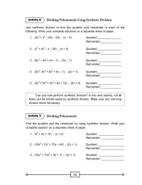Dividing Polynomials Using Synthetic Division Worksheet ...