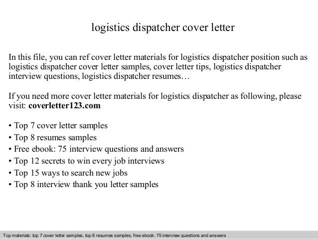 Logistics Dispatcher Cover Letter