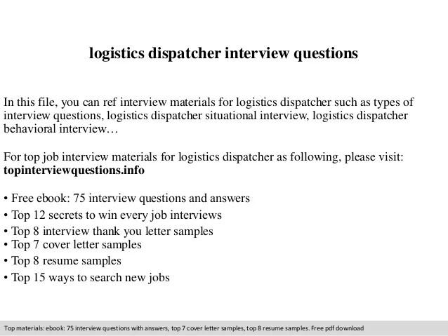 Logistics Dispatcher Interview Questions