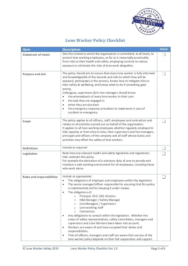 Lone Worker Safety  Lone Worker Policy Checklist 10
