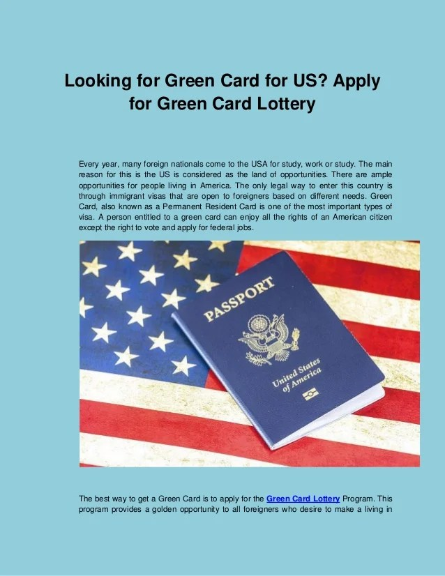 What is the dv lottery? Looking For Green Card For Us Apply For Green Card Lottery