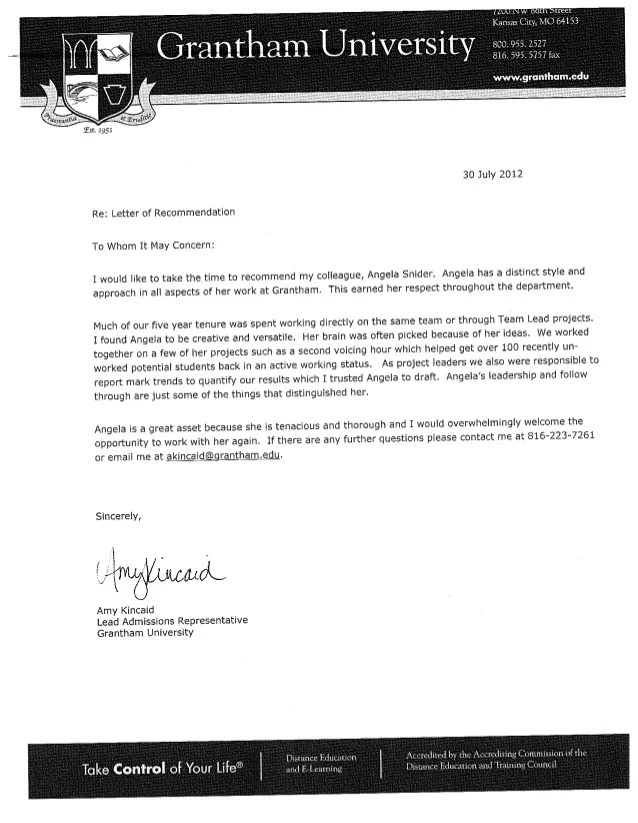 Letter of RecommendationTeam Lead