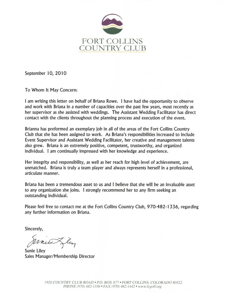 membership recommendation letter sample