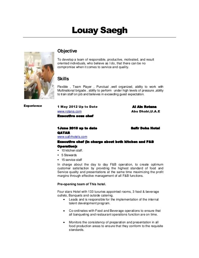 Great Resort Chef Sample Resume] Chef Resume Example Culinary Arts ..