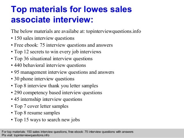 Lowes Sales Associate Interview Questions And Answers