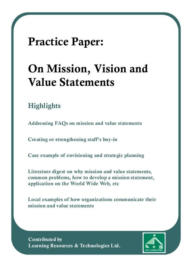 Practice Paper On Mission Vision And Value Statements
