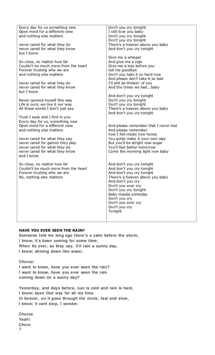 Lirik Have You Ever Seen The Rain : lirik, Lyrics