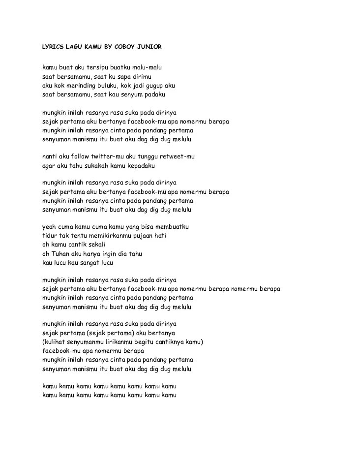 Download Lagu Kamu Coboy Junior : download, coboy, junior, Lyrics, Coboy, Junior