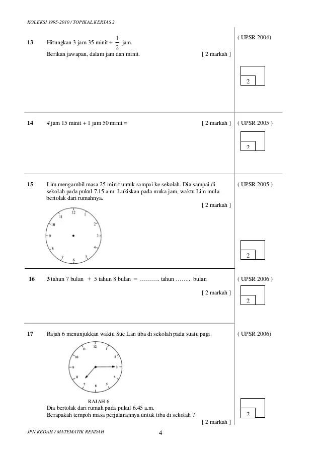 Soalan Ulangkaji Matematik Tahun 6 Persoalan N Cute766