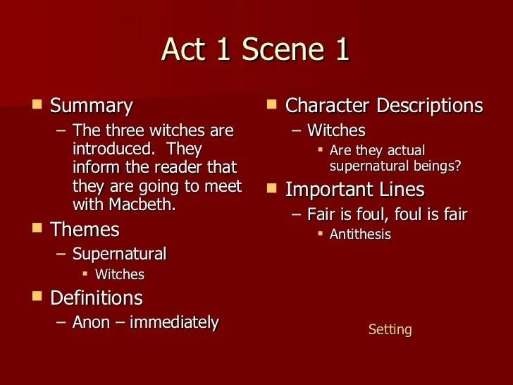 Macbeth Act 1 Notes