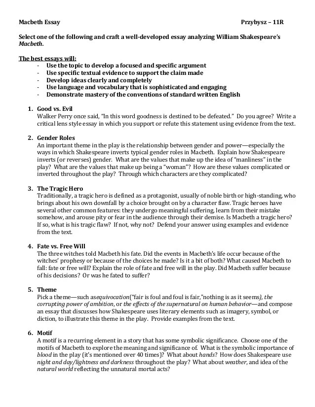 Macbeth Essay Themes Macbeth Essays Co Immigration Essay Topics