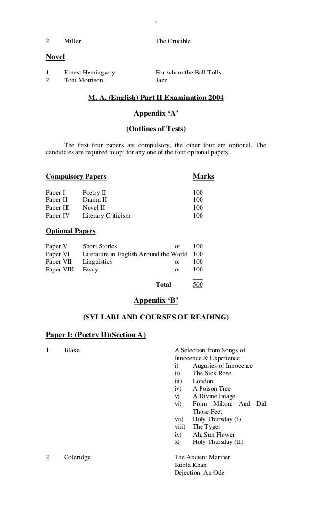 Course Outline For MA English Punjab University
