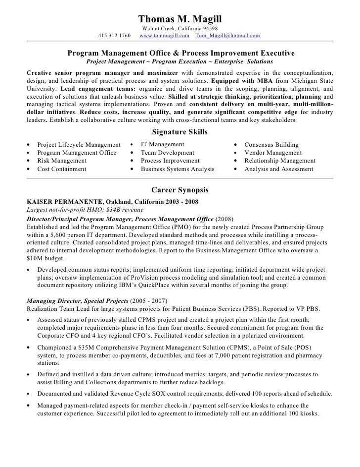 Magill Thomas Resume Pmo Process 2010