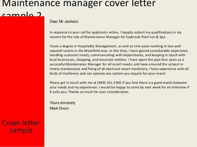 Maintenance Resume Cover Letter