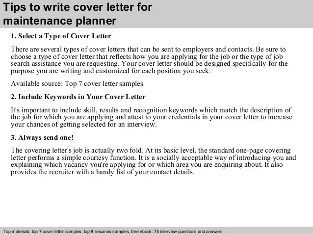 Maintenance planner cover letter