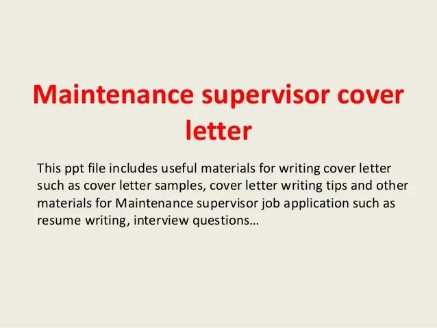 Cover Letter For Maintenance Supervisor. Cover. Best Resume And ...