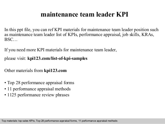 Maintenance team leader kpi