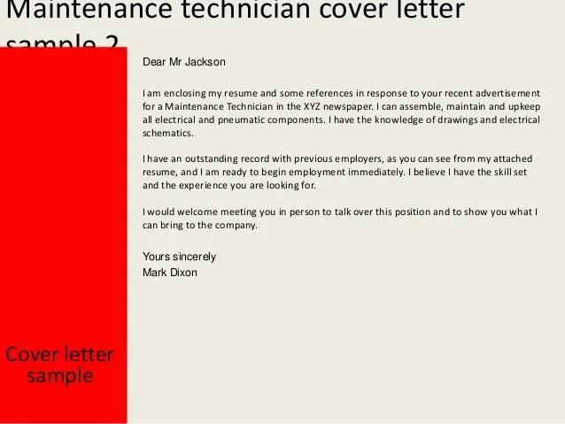 Maintenance technician cover letter