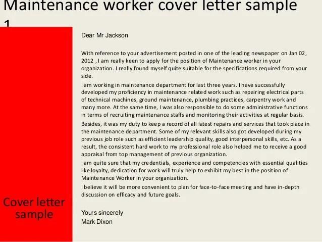 Maintenance worker cover letter