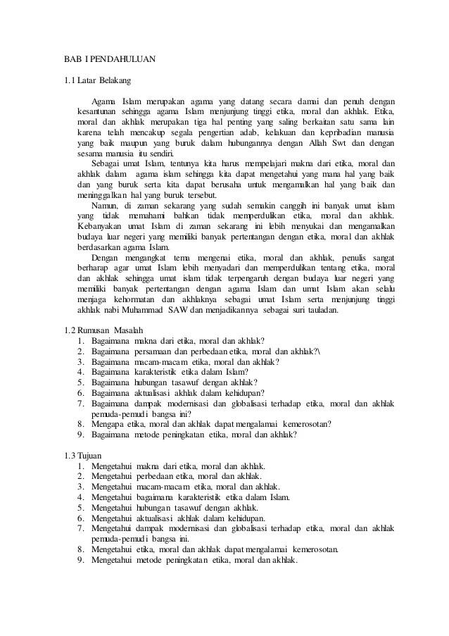 Contoh Makalah Agama Islam Tentang Akhlak Dan Moral Barisan Contoh Cute766