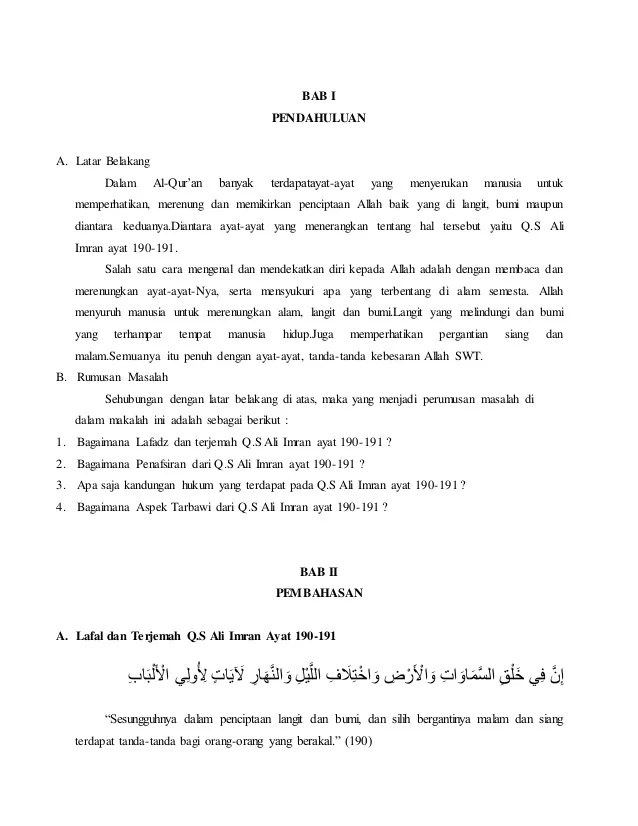 Kandungan Surah Al Imran Ayat 159 : kandungan, surah, imran, Makalah, Imran, 190-191