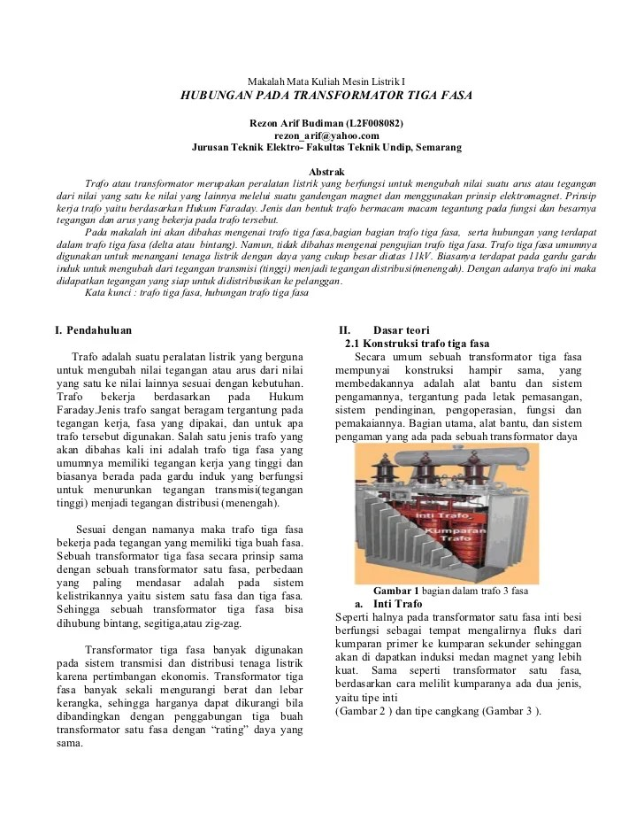 Transformator 3 Fasa Pdf : transformator, Makalah, Trafo, Elektro, UnDip
