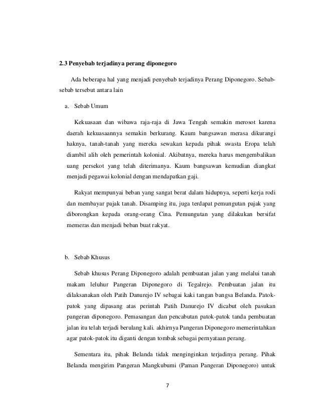 Sebab Umum Dan Khusus Perang Diponegoro : sebab, khusus, perang, diponegoro, Makalah, Perang, Diponogoro