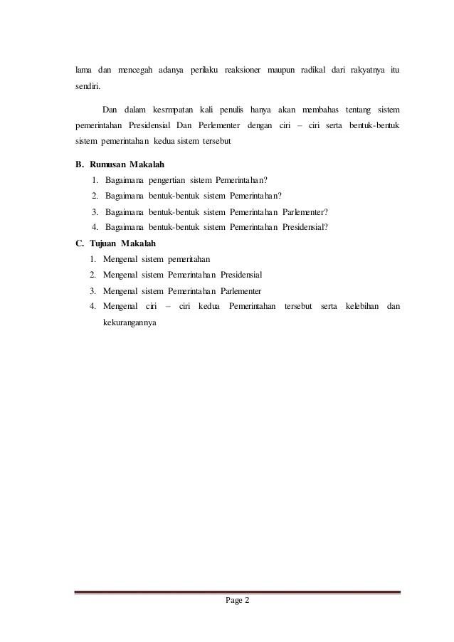 Ciri Ciri Sistem Pemerintahan Parlementer Dan Presidensial : sistem, pemerintahan, parlementer, presidensial, Makalah, Sistem, Pemerintahan, Presidensial, Parlementer