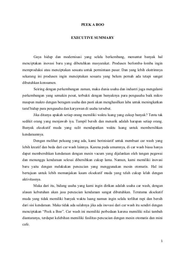 Contoh Executive Summary Dalam Bisnis Plan Contoh Red Cute766