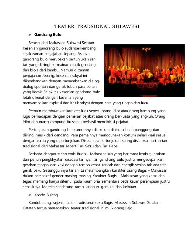 Sejarah Teater Tradisional : sejarah, teater, tradisional, Makalah, Teater, Tradisional, Sulawesi,, Kalimantan, Papua