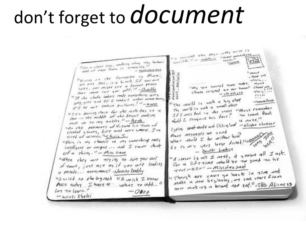 don't forget to document