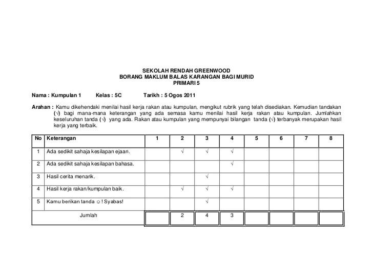 Borang Maklum Balas Murid Cuitan Dokter