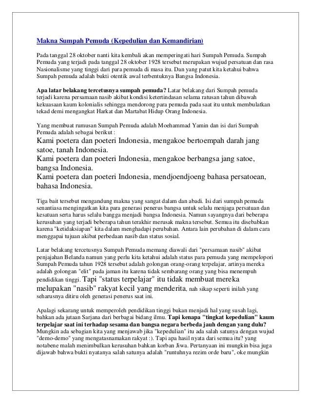 Makna Sumpah Pemuda Tanggal 28 Oktober 1928 Bagi Bangsa Indonesia Adalah : makna, sumpah, pemuda, tanggal, oktober, bangsa, indonesia, adalah, Makna, Sumpah, Pemuda