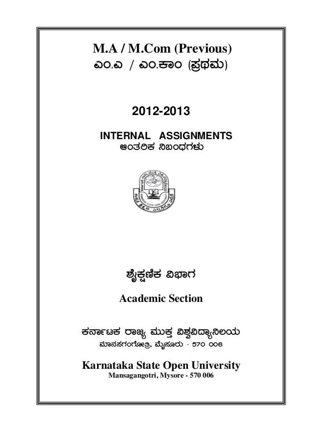 MCOM Assignment For KSOU