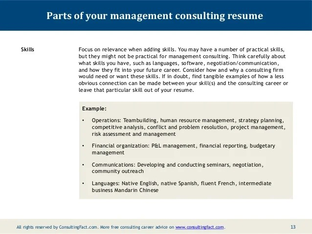 example of skills for resume consulting