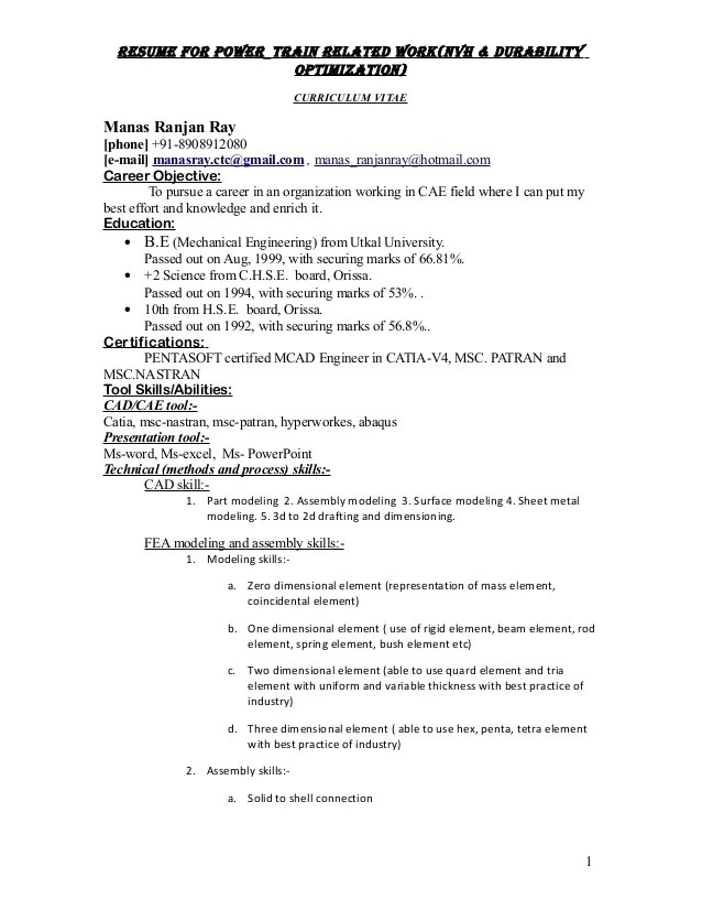resume for power train requirement