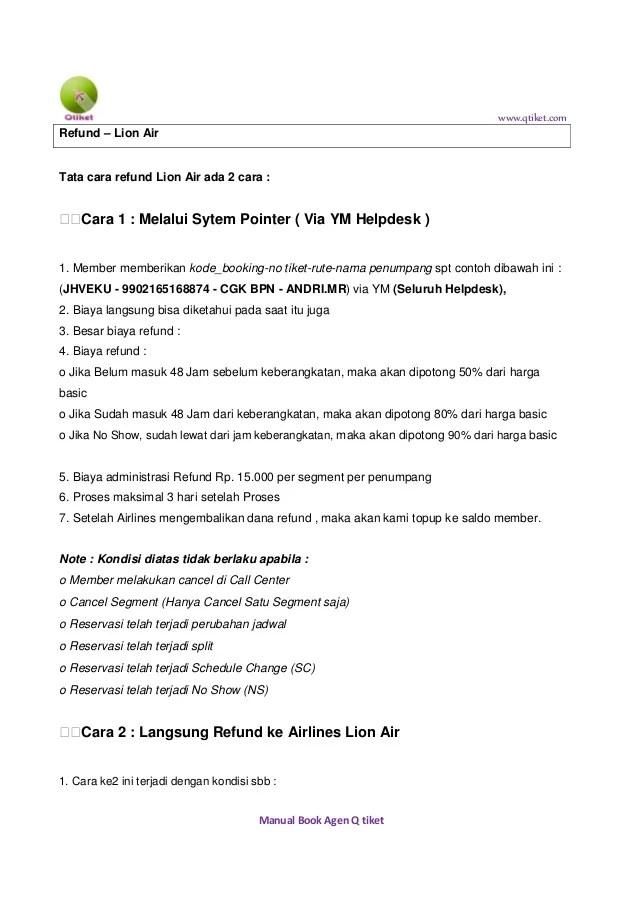 contoh surat kuasa refund tiket pesawat