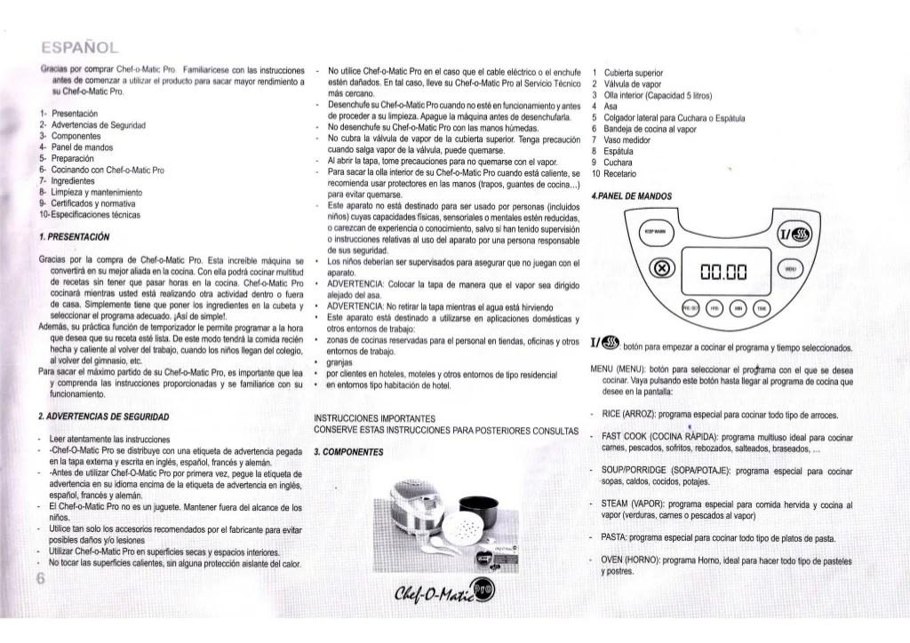 Manual de instrucciones chef o matic pro