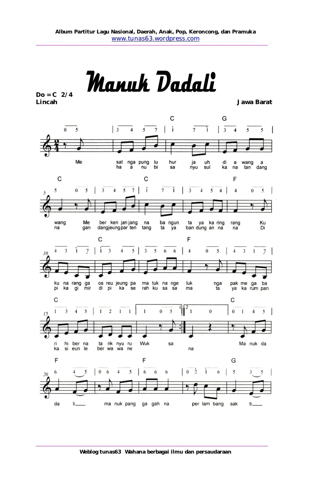 Not Pianika Manuk Dadali : pianika, manuk, dadali, Manuk, Dadali, Partitur