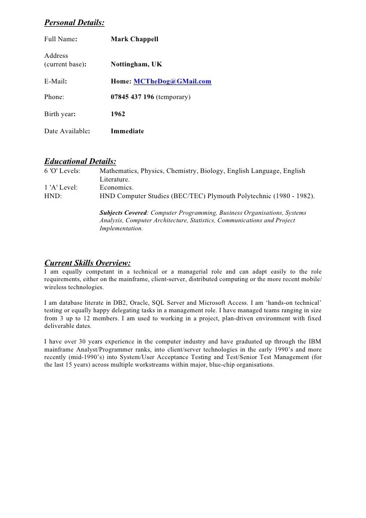 Mark Chappell Latest Cv Abridged 7 Pager