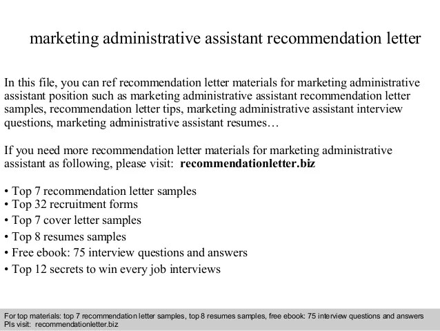 Marketing Administrative Assistant Recommendation Letter