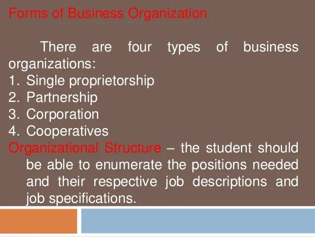 forms of business organization also feasibility study marketing technical and management aspect rh slideshare