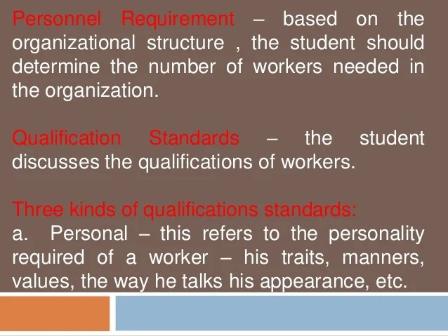personnel requirement  based on the organizational structure also feasibility study marketing technical and management aspect rh slideshare