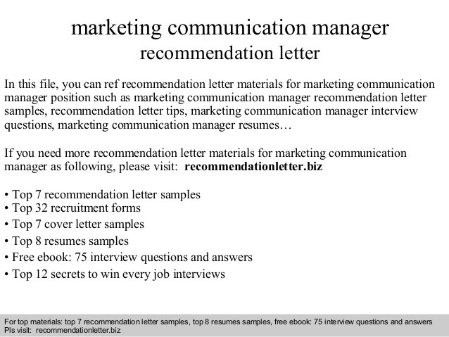 Marketing communication manager recommendation letter