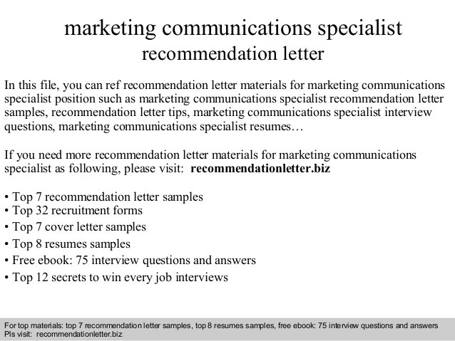 Marketing Communications Specialist Recommendation Letter